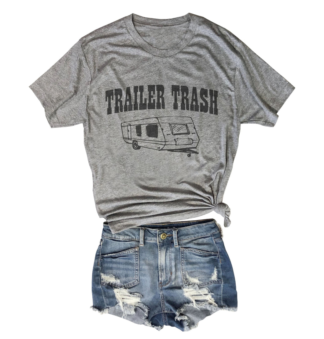 TRAILER TRASH... Heather Grey Unisex Triblend Tee