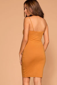 Alisa Mustard Bodycon Dress