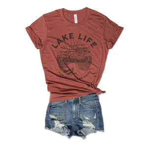 Lake Life Because Beaches Be Salty Clay Unisex Tee