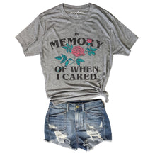 Load image into Gallery viewer, In Memory of When I Cared.... Funny Heather Grey Unisex Triblend Tee