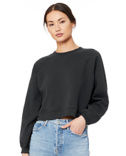 Load image into Gallery viewer, LIMITED... My Rising Sign Is Coffee ... Slouchy CHARCOAL Mid-Crop Raglan Sleeve Sweatshirt