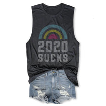 Load image into Gallery viewer, 2020 SUCKS ... Funny Unisex Super Soft Triblend Raw Edge Muscle Tee