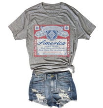 Load image into Gallery viewer, America Beer Inspired Tee.....Heather Grey Unisex Triblend Tee