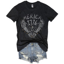 Load image into Gallery viewer, Merica 1776... Retro Vintage Black Distressed Garment Dyed Unisex Tee