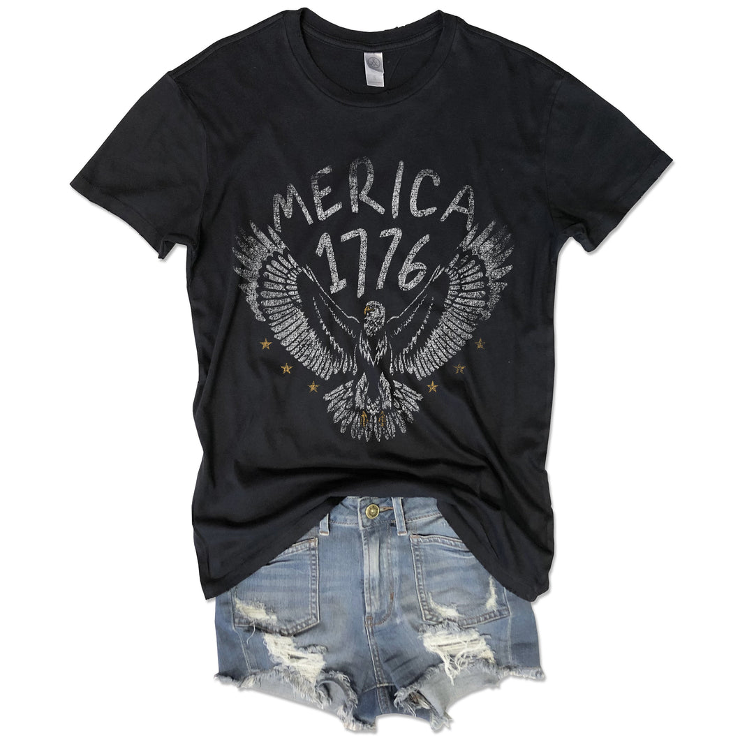 Merica 1776... Retro Vintage Black Distressed Garment Dyed Unisex Tee