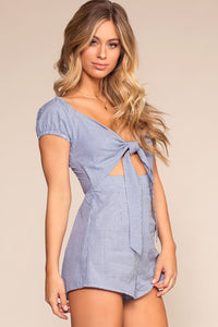 Andros Gingham Romper - Blue