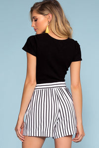Alex West Stripe High Waisted Shorts - White