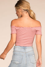 Load image into Gallery viewer, Beginnings Stripe Off The Shoulder Crop Top - Blush