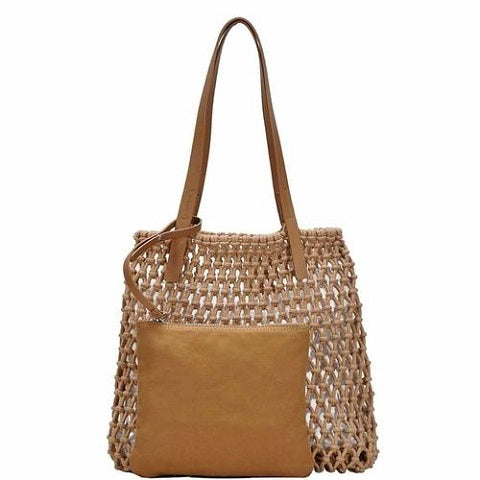 2-in-1 Chic String Woven Tote Bag