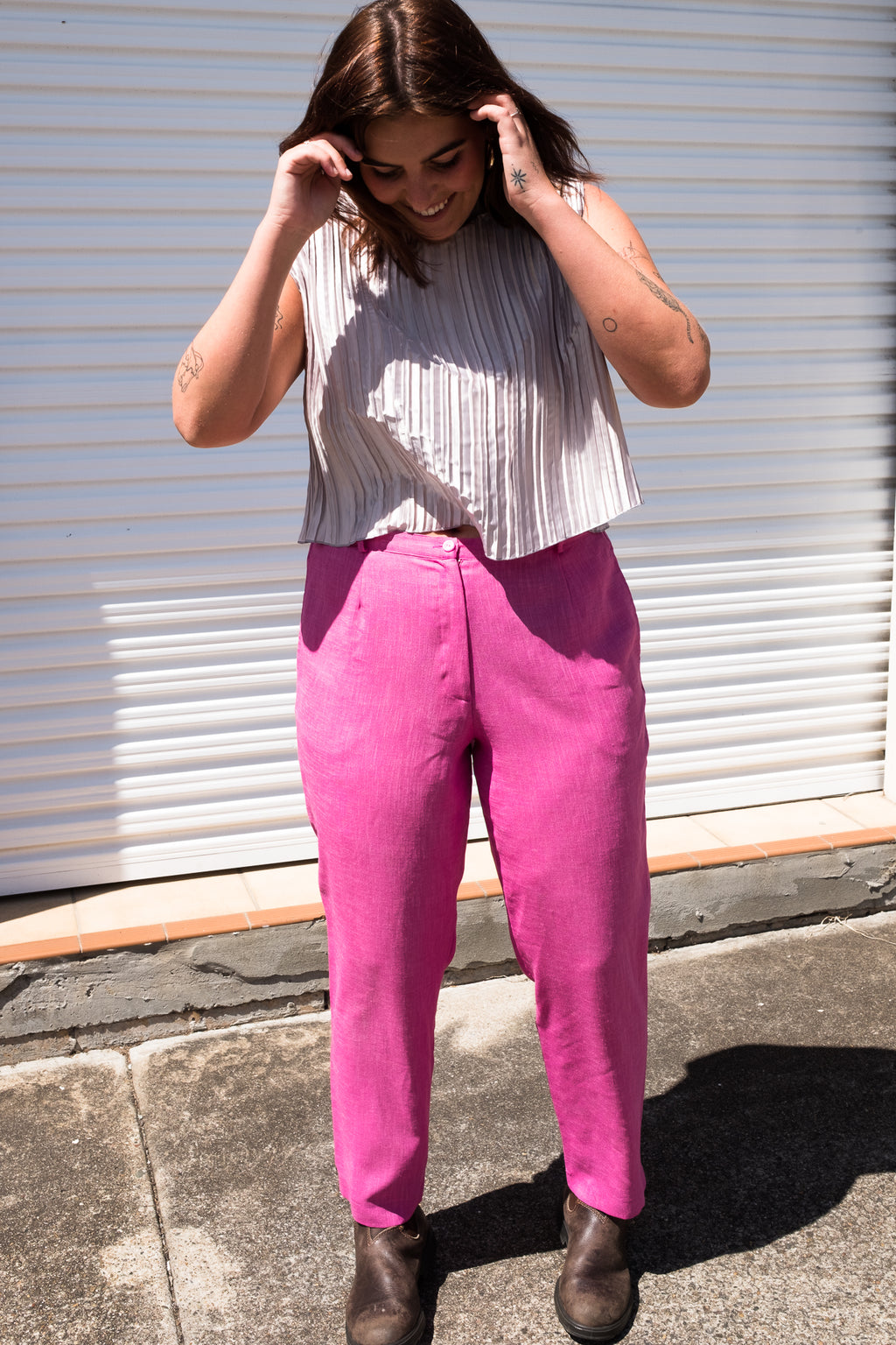 90s Pink High-Waisted Pants