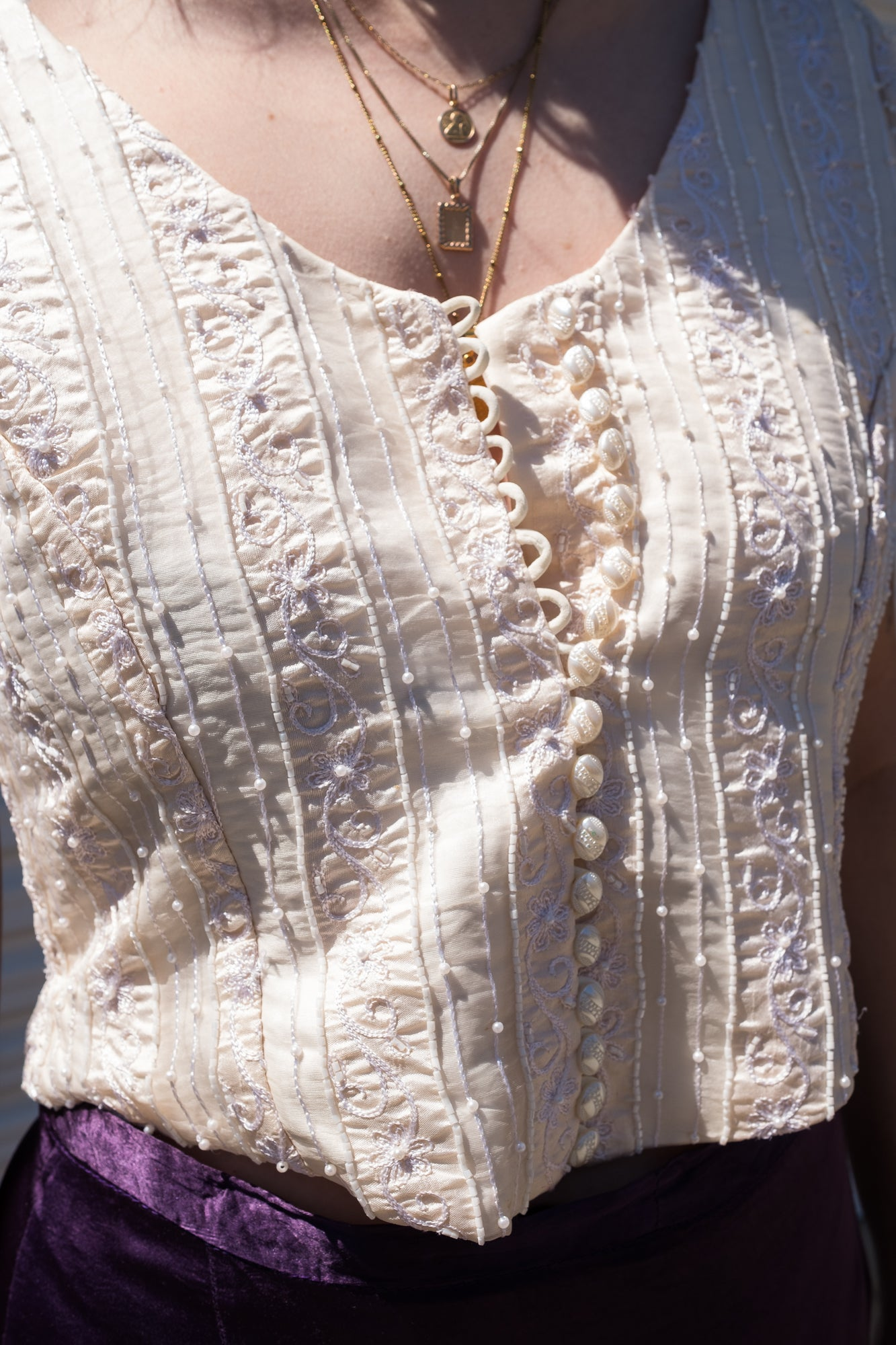 90s Cream Beaded Top