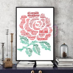 England Rugby Legends v1 - Word Art print