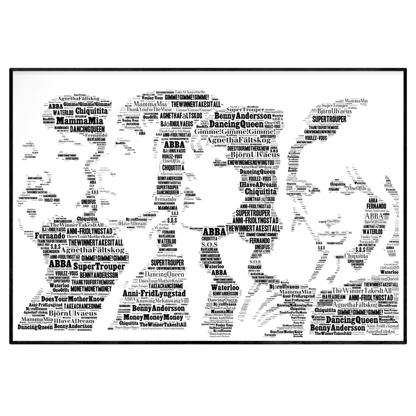 Abba tribute - Word Art Portrait / Collectable/Memorabilia/Gift/Print