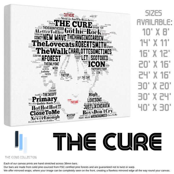 The Cure / Robert Smith - Portrait in songs - Premium Canvas Keepsake/Collectable/Memorabilia/Gift