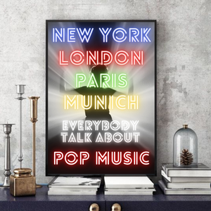 New York London Paris Munich -  Typographic Wall Art