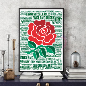 England Rugby Legends v4 - Word Art print