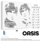 Oasis 90's - Portrait in songs - Premium Canvas Keepsake/Collectable/Memorabilia/Gift
