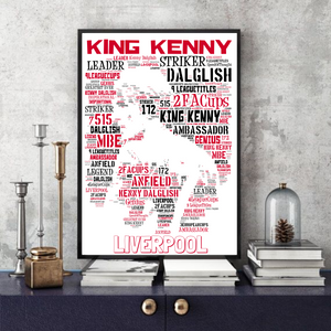 King Kenny Dalglish - Word Portrait Liverpool FC Print