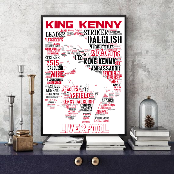 King Kenny Dalglish - Liverpool FC Icon - Word Art/Collectable/Keepsake/Gift/Memorabilia
