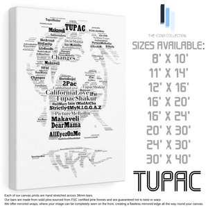 Tupac - Portrait in songs - Premium Canvas Keepsake/Collectable/Memorabilia/Gift
