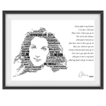 Load image into Gallery viewer, Celine Dion Portrait in songs & lyrics print