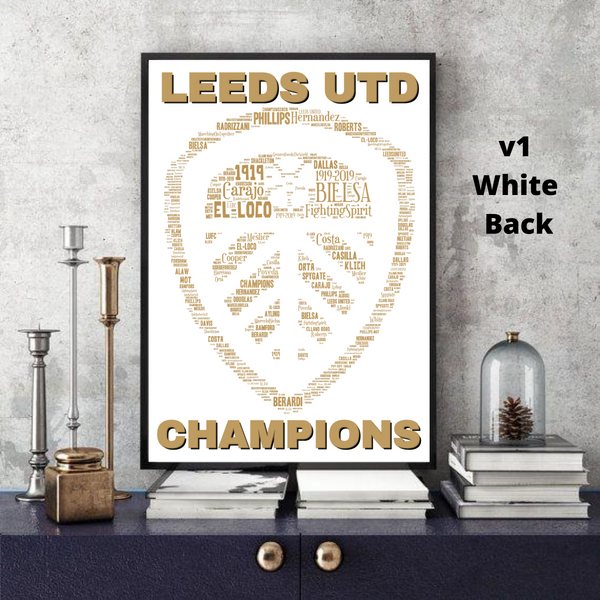 Leeds United 2020 CHAMPIONS LUFC - Word Art Collectable/Keepsake/Gift/Memorabilia