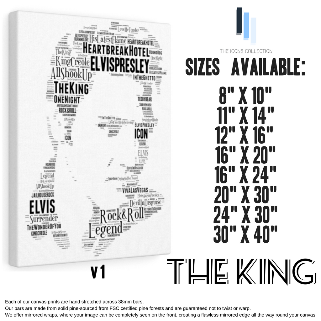 Elvis Presley The King v1 / Portrait in songs - Premium Canvas