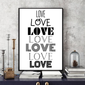 Love Love Love  -  Typographic Wall Art