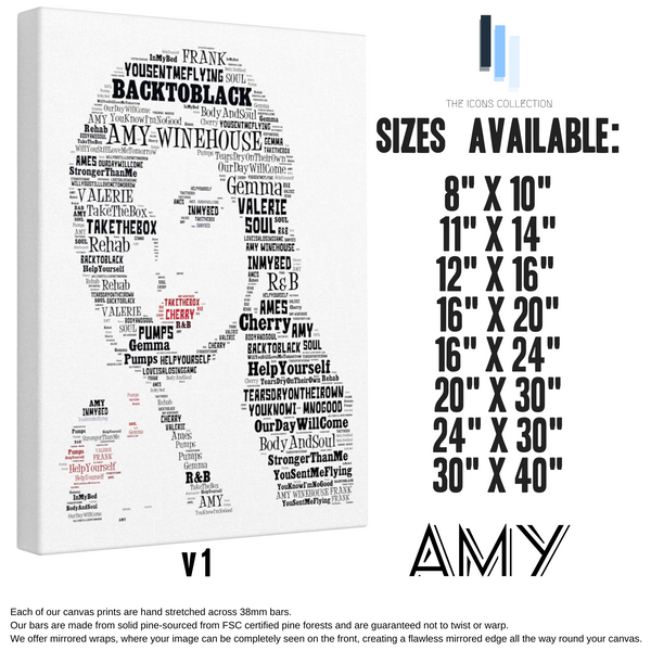 Amy Winehouse - Portrait in songs - Premium Canvas Keepsake/Collectable/Memorabilia/Gift