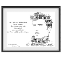 Elvis Presley v2 Lyrics tribute - Word Art Portrait - Unique Keepsake/Collectable/Memorabilia/Gift/Print