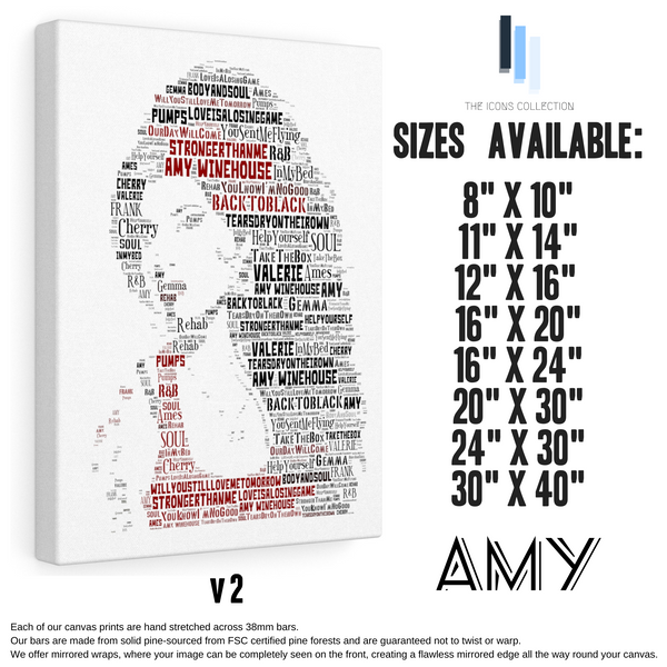 Amy Winehouse 2 - Portrait in songs - Premium Canvas Keepsake/Collectable/Memorabilia/Gift