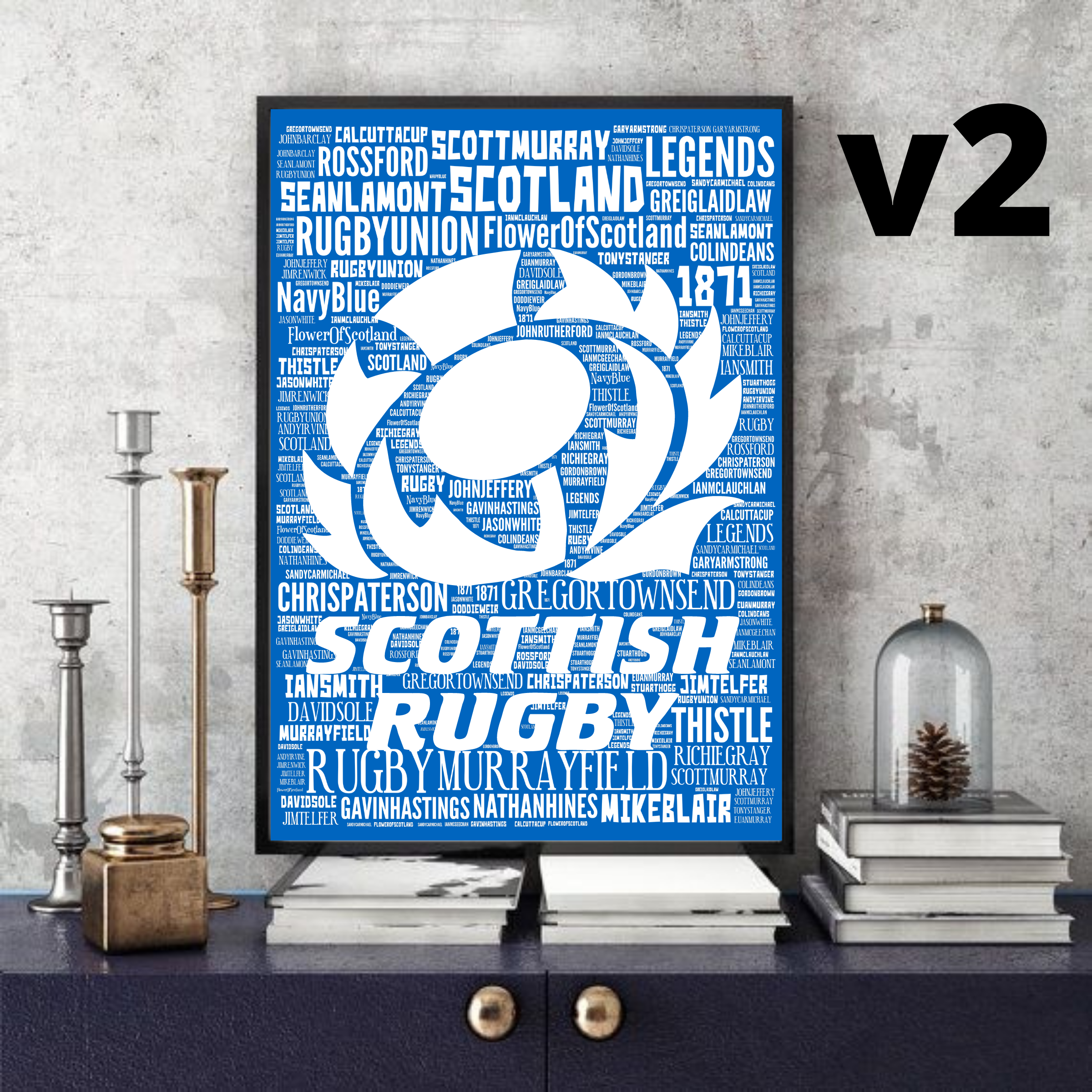 SCOTLAND RUGBY Legends (Multi options) - Word Art Collectable/Gift/Memorabilia