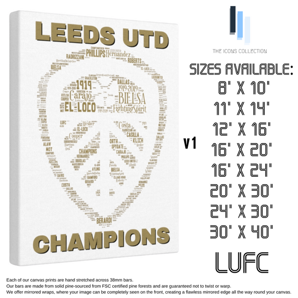 Leeds United 2020 Champions - Premium Canvas Keepsake/Collectable/Memorabilia/Gift