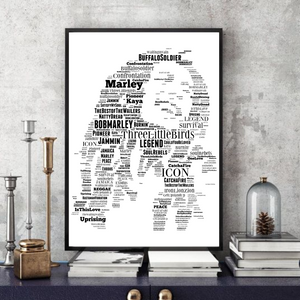Bob Marley v1 - Portrait in songs print