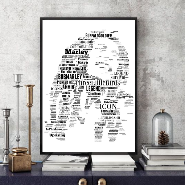 Bob Marley - Word Art Portrait - Unique Keepsake/Collectable/Memorabilia/Gift/Print