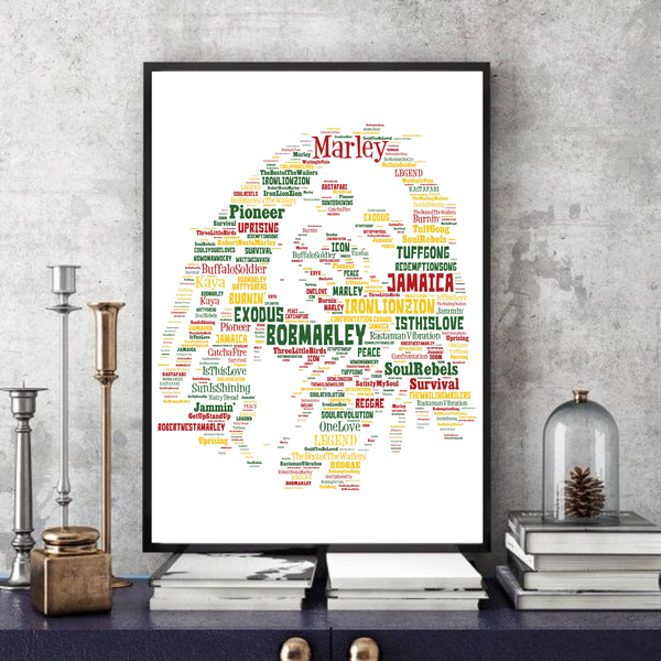 Bob Marley 4 - Word Art Portrait - Unique Keepsake/Collectable/Memorabilia/Gift/Print