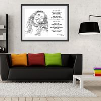 Bob Marley 3 Little Birds Lyrics tribute - Word Art Portrait - Unique Keepsake/Collectable/Memorabilia/Gift/Print