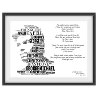 George Michael v1 Lyrics tribute - Word Art Portrait - Unique Keepsake/Collectable/Memorabilia/Gift/Print