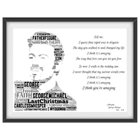George Michael v2 Lyrics tribute - Word Art Portrait - Unique Keepsake/Collectable/Memorabilia/Gift/Print