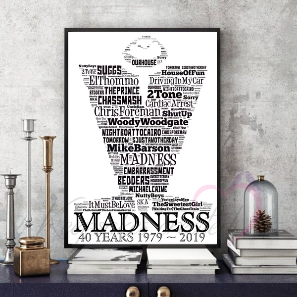 Madness - Ska - Mods - Word Art Portrait - Unique Keepsake/Collectable/Memorabilia/Gift/Print
