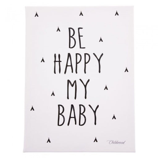 canvas Be Happy 40 x 30 cm wit/zwart