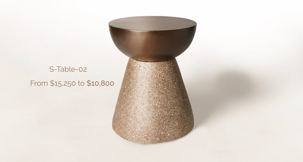 Volcanic Stone Side Table with Text S-Table-02 From $15,250 to $10,800