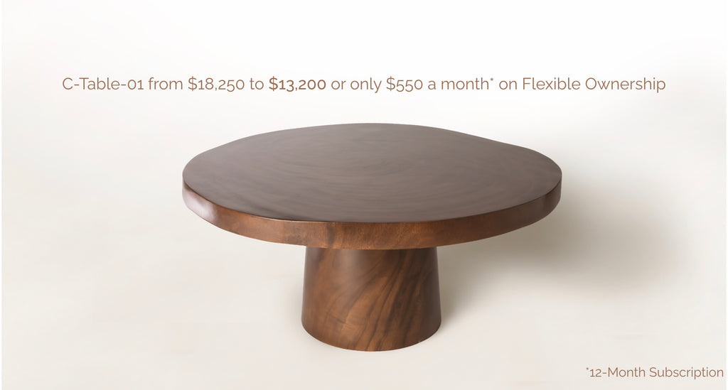 Brown Wooden Coffee Table with Text C-Table-01 from $18,250 to $13,200 or only $550 a month* on Flexible Ownership