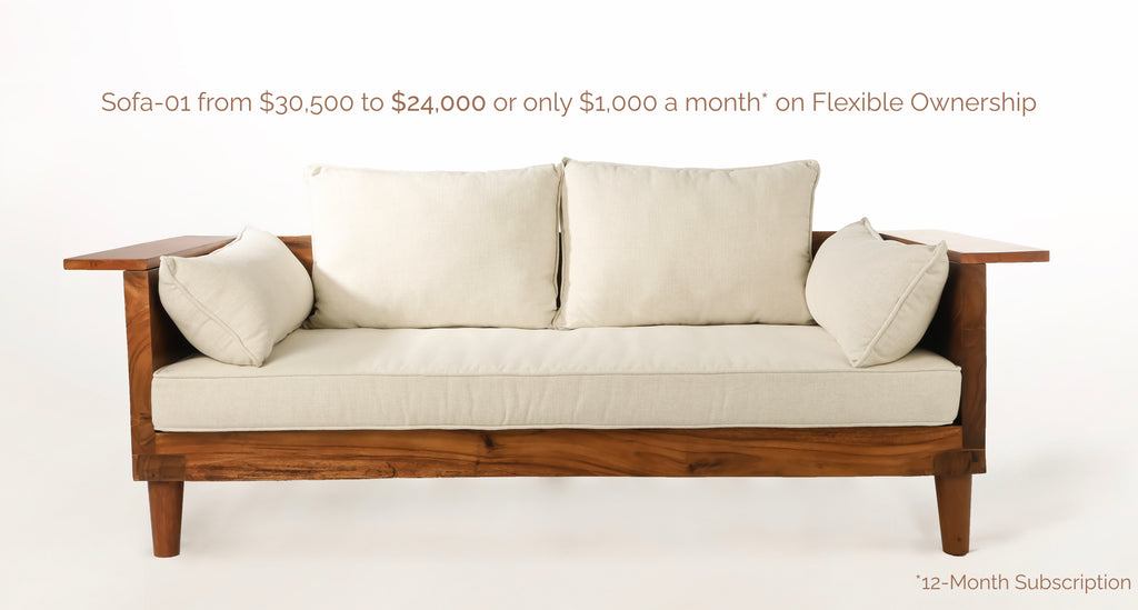 Wooden Couch with Cushions with Text Sofa-01 from $30,500 to $24,000 or only $1,000 a month* on Flexible Ownership