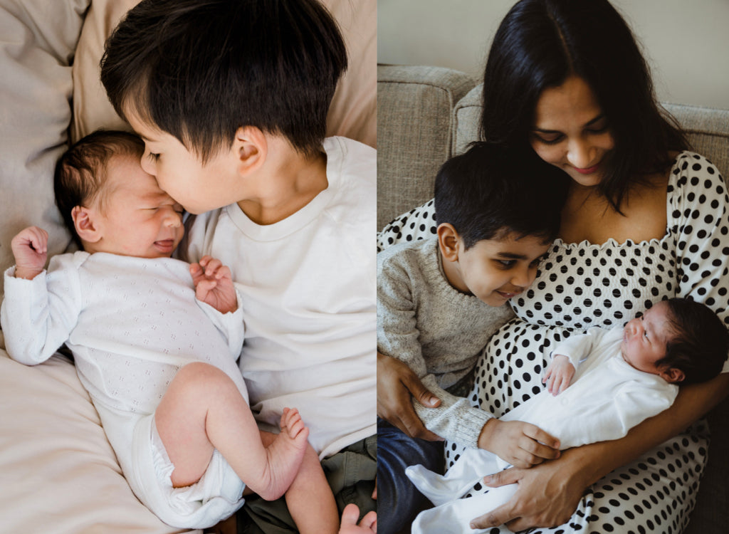 Left Image: Boy Kissing Baby, Right Image: Mom holding baby and boy looking at baby