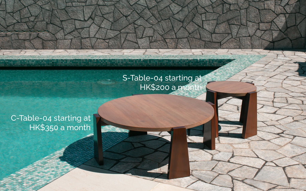 Coffee Table - Text is C-Table-04 starting at HK$350 a month and Side Table - Text is S-Table-04 starting at HK$200 a month
