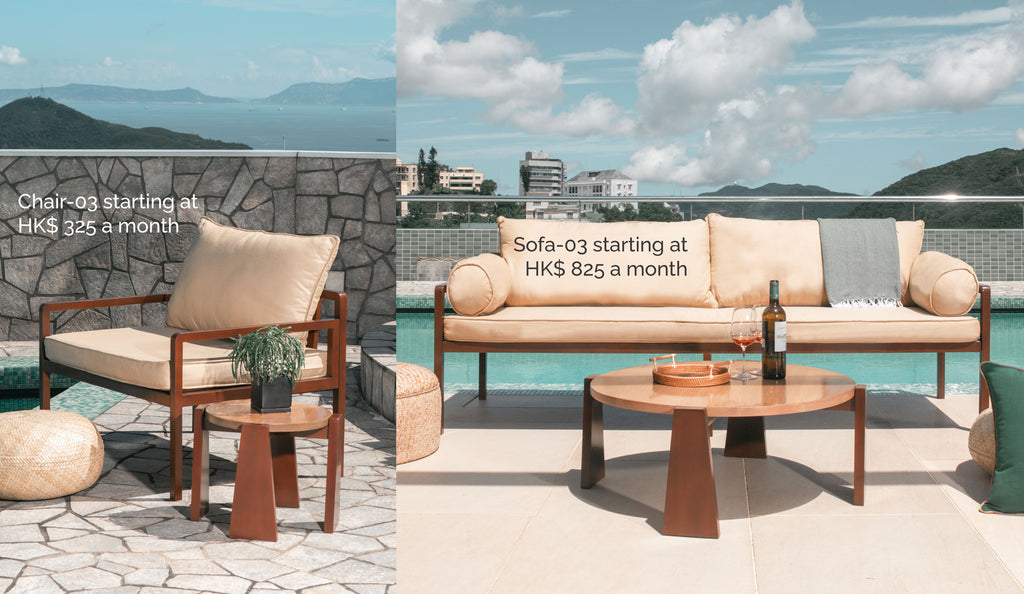 Chair-03 starting at HK$ 325 a month and Sofa-03 starting at HK$ 825 a month