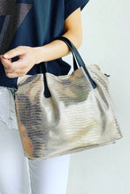 Load image into Gallery viewer, Metallic Snake Leather Hand Bag Gold