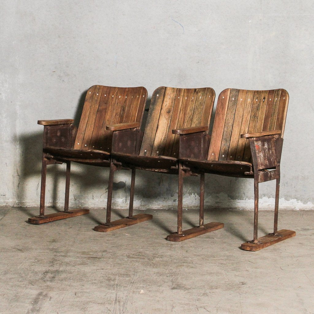 Vintage Indian 3 Chair Cinema Bench