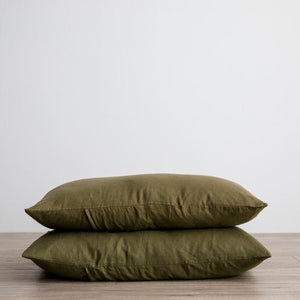 Cultiver Linen Standard Pillowcases - Olive
